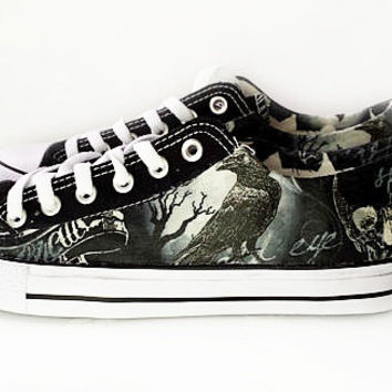 Gothic haunted shoes, custom converse style pumps, skull shoes, black bird, crow print women shoes, gothic, goth, rockabilly, alt shoes