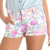 Almost Famous High Waist Floral Short: Charlotte Russe