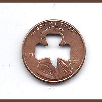 1 (one) LINCOLN CENT 3 LEAF TYPE 1 SHAMROCK CUT OUT NOVELTY COIN / IRISH