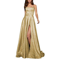 Celebrity Dresses in Sweetheart Pageant Dress Reflective Long Prom Party Gown