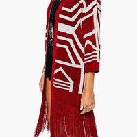 Red Geometric Pattern Long Sleeve Fringed Cardigan