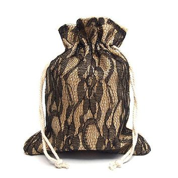 Faux Burlap Bags Lace Overlay, 5-Inch x 6-1/2-Inch, 6-Piece, Black