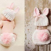Cream rabbit bunny hats with shorts sets suits Handmade outfits newborn infant baby boys prince Girls Animal Costume Crochet Clothing Sets Beanie cap shorts photography props knitted cap hat 0-6Month (Size: 0-6m, Color: White & Pink)