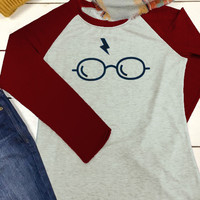 Harry Potter Glasses Printed Splicing Long Sleeve T-Shirt - Bellelily