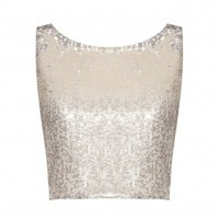 alice + olivia | PIRE SLEEVELESS FITTED CROP TOP