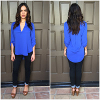 Cream Of The Crop Blouse - Royal Blue