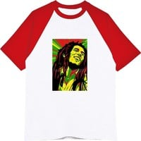 Summer Raglan Sleeve Cotton O-neck Fashion Hip Hop T-shirts Reggae Singer Bob Marley Men T Shirts Tops Tees Harajuku Streetwear