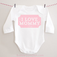 I LOVE MOMMY Valentine's Day Outfit Long Sleeved Baby Bodysuit Onepiece Toddler Outfit Valentine Shirt