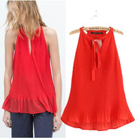 Russian NEW Women's Fashion Causal Chic Hanging Neck Strap Crushed Collar Red Chiffon Shirt Blouses Ladies Tops Free Shipping