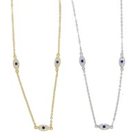Guarantee 925 sterling silver jewelry necklace lovely adorable Evil eye tiny charms choker Gold silver color minimal delicate