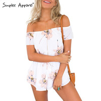 Simplee Apparel Summer beach off shoulder elegant jumpsuit romper Floral print sexy playsuit Girls chiffon combishort overalls