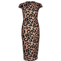 River Island Womens Brown leopard print bodycon dress