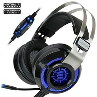 ENHANCE Scoria Computer Gaming Headset ENSCH7L100BKEW Headphones with USB 7.1 Surround Sound , Bass Vibration , Multi-Color LED Settings , In-Line Controls & Retractable Microphone
