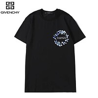 Givenchy New fashion floral letter print couple top t-shirt Black
