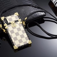 Lv White Damier Trunk Case w/ Carry Strap