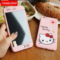 Cute Hard Cases for iPhone 6 6S 7 8 Plus Cartoon Mickey Minnie Hello Kitty Cover 360 Degree Full Body for iPhone 8 Case + Glass