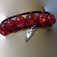 Red Hot Single Wrap Leather Bracelet with Faux Crystal Heart Button Closure and Angel Wing Dangle Charm Boho Chic Country Girl Handmade