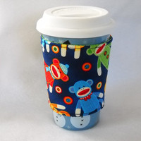 Slip-On Coffee Cozy Made With Multi-colored Sock Monkey Fabric