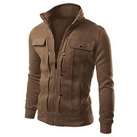 Ostrich Men Coats Warming Outwear New Fashion Mens Slim Designed Lapel Cardigan Coat Jacket
