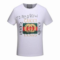 Gucci Trending Women Men Leisure Print Short Sleeve Round Collar T-Shirt Top Blouse White