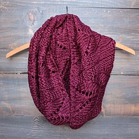 Knit Leaf Pattern Infinity Scarf in More Colors