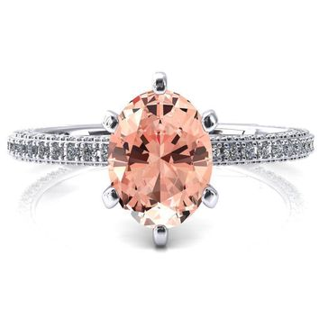 Mariyah Oval Champagne Sapphire 6 Prong 3/4 Eternity 3 Sided Diamond Shank Engagement Ring