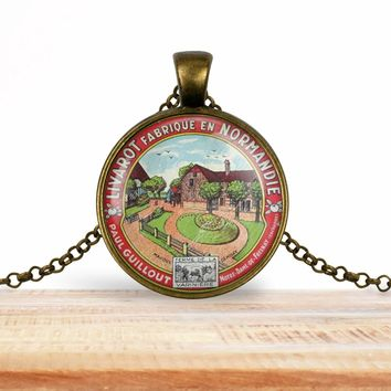 Vintage product label photo pendant - Livarot fabrique en Normandie- foodie necklace, francophile necklace