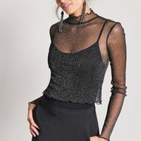 Sheer Metallic Mesh Top