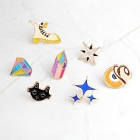 Cartoon Martin boots Eye Black cat Stars Brooch Pins Button Denim Jacket Shirt Sweater Collar Lapel Enamel Pin Badge Jewelry