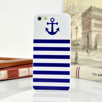 Cute Stripe Anchor Navy Blue Hard Case Phone Protective Cover for iPhone 5 5s