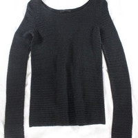 """~~~ WAY UP THERE ~~~ THE ROW BLACK """"POINTELLE OPEN KNIT"""" LONG SLEEVE SWEATER ~ S"""
