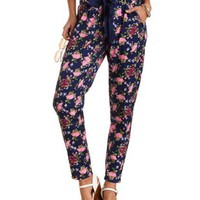 Navy Combo Floral Print Jogger Pants by Charlotte Russe
