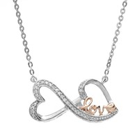 Love Is Forever 14k Rose Gold Over Silver & Sterling Silver 1/10-ct. T.W. Diamond ''Love'' Double Heart Necklace (White)