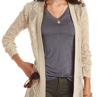 Open Front Pointelle Cardigan Sweater by Charlotte Russe