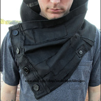 Gothic Patchwork Black Cowl scarf Dystopian shrug collar buttons in black FREE US SHIPPING
