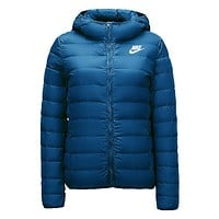 Nike Trending Women Stylish Print Eider Down Hooded Cardigan Jacket Coat Windbreaker Lake Blue