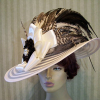 Ivory Kentucky Derby Hat Victorian Hat Wedding Hat Downton Abbey Hat Church Hat Millinery By Ms.Purdy