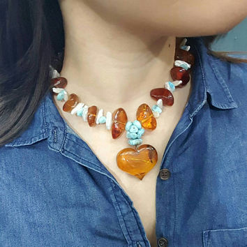 Amber heart beaded gemstone necklace of amber larimar and mother of pearl rare stone design genuine pectolite dominican stone ambar gem