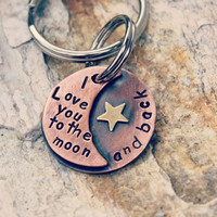 I love you to the moon and back keychain in rustic copper Item 101