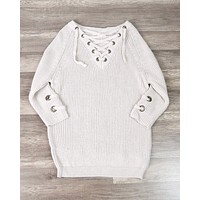 Lace Up Grommet Sweater in Blush