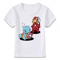 Kids Clothes T Shirt  Civil War Squirtle and Charmander T-shirt for Boys and Girls Toddler Shirts TeeKawaii Pokemon go  AT_89_9