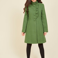 Ruffle Your Weathers Coat in Shamrock | Mod Retro Vintage Coats | ModCloth.com