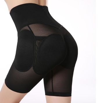 Plus Size S-XXL Black Padded Underwear Women's Hip Enhancer High Waisted Tummy Control Padded Butt Lift Shapewear