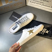 Golden Goose Ggdb White Leather And Gold Star Slipper