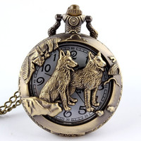 Bronze Wolf Hollow Quartz Pocket Watch Necklace Pendant Women Men's Gifts  (Color: Bronze) = 1956333636