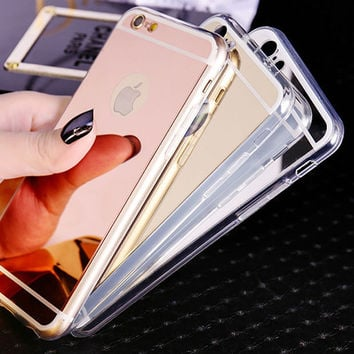 Fashion Soft Mirror Phone Case For Coque iPhone X 8 8plus 5s 5 6 6s 6plus 6s plus 7 7Plus Ultra Thin Soft Electroplating Make UP Mirror Back Cover Fundas+Nice Gift Box !