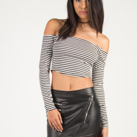 Striped Off The Shoulder Long Sleeve Crop Top - Black/White /