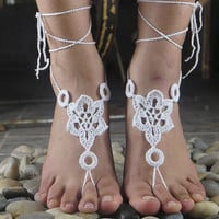 Handmade Crochet Barefoot Sandals ,Nude shoes, Foot jewelry, Wedding, Victorian Lace, Sexy, Yoga, Anklet , Bellydance,Steampunk, Summer Beach Pool,Ethnic,Gift-20