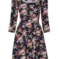 Women Office Dresses Floral Pattern 3/4 Sleeve Crew Bodycon Party Dress see though Vintage Pencil Ladies sexy club dress 2017