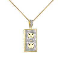 Switch Plug Socket Pendant 14k Gold Finish Simulated Diamonds Free Necklace New